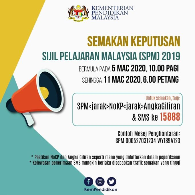 Semak Keputusan Spm 2019 Melalui Sms Bermula Jam 10 Pagi Hari Ini Sabah Post