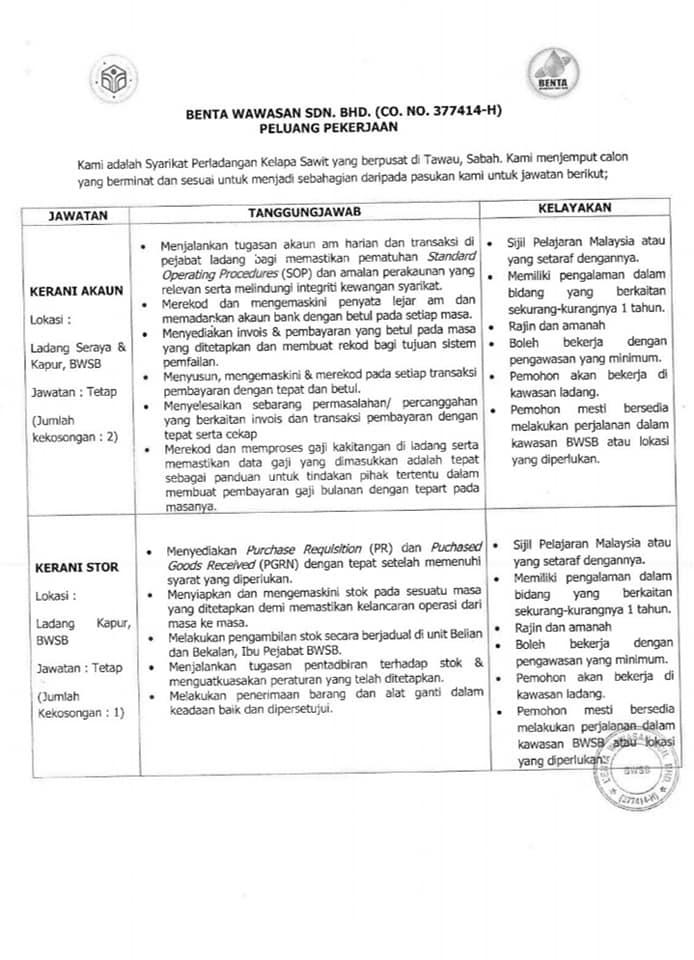 Iklan Kerja Kosong Sabah 2020 Kerani Akaun Kerani Stor Sabah Post